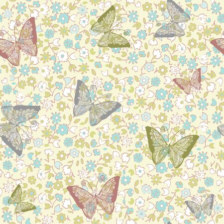 seamless floral background with butterflies  Stock Vector - 13464640