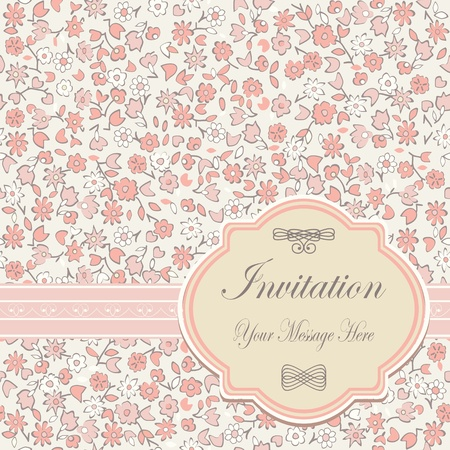 love card: invitation floral card  Illustration