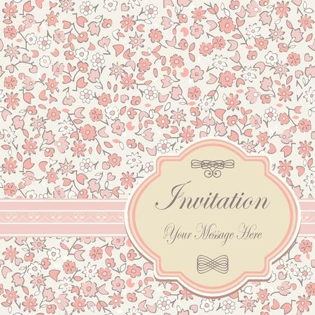 holiday invitation: invitation floral card  Illustration