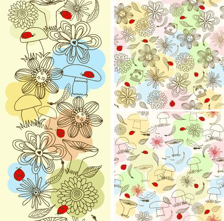 set seamless children floral pattern  Vector