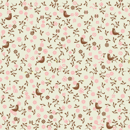 seamless floral background with birds  Ilustracja
