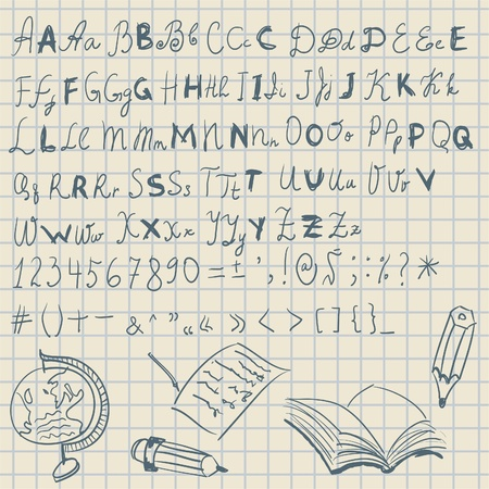 written text: Hand written letters and numbers on school background  Illustration