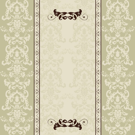 vintage card with damask wallpaper Vector