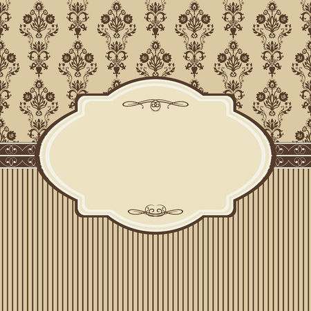 vintage retro frame: Vintage frame with damask background