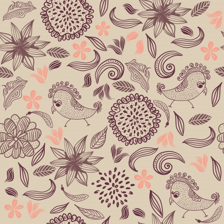 retro seamless floral pattern with parrots Vector