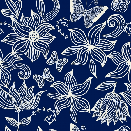 classical style: blue vintage seamless floral pattern