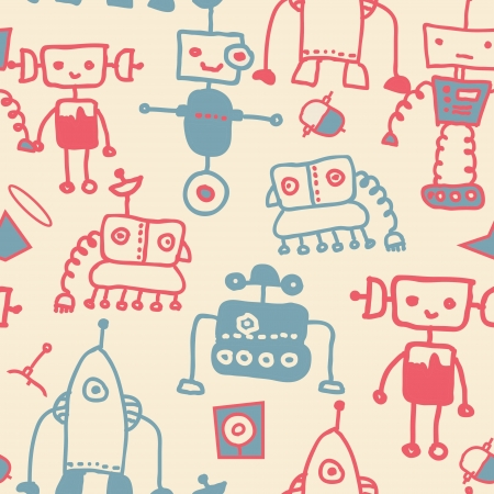 Seamless pattern of various robots Vector