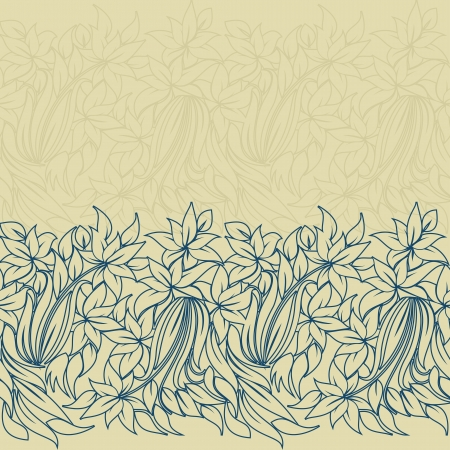 horizontal seamless floral pattern with place for text  Vector