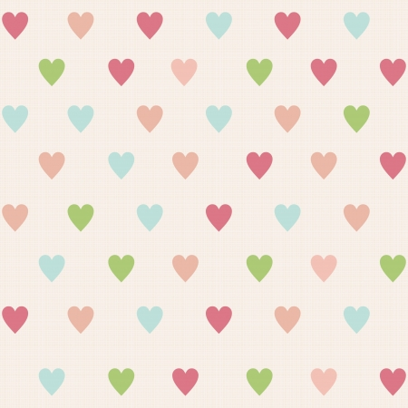 cute love: retro seamless pattern with colorful hearts