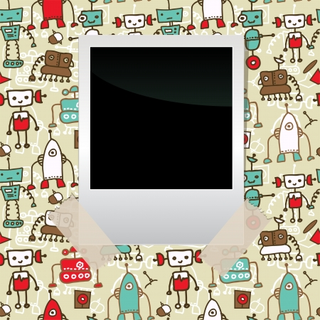 viewfinderchallenge1: seamless doodle pattern with colorful robots and blank film taped to it