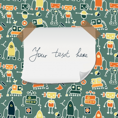 seamless doodle pattern with colorful robots and blank paper for your greeting Vector
