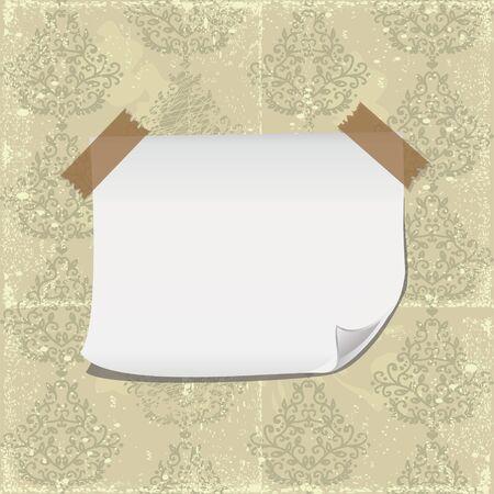 blank paper on shabby old retro seamless damask wallpaper Stock Vector - 16187996