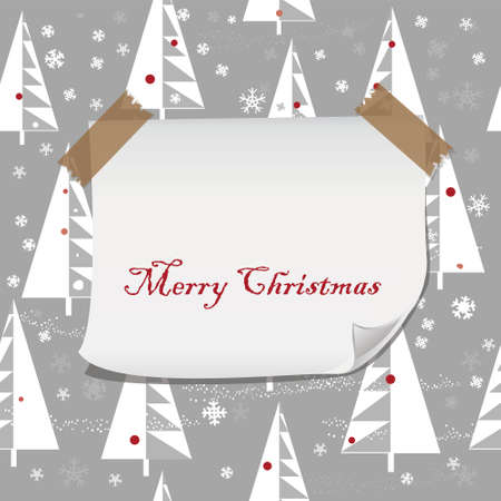 cartoon Christmas pattern with blank paper for your greeting Vector