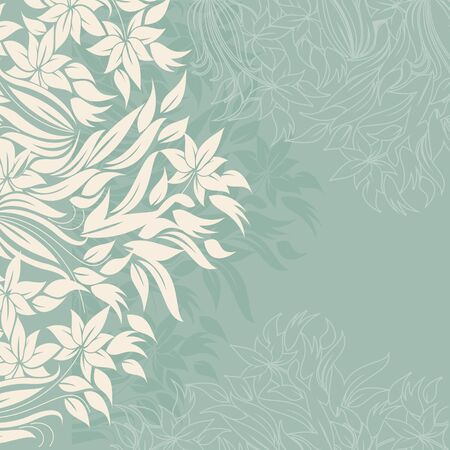 Template frame design for greeting card with white flowers