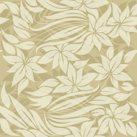 vintage postcard: background, seamless floral pattern with sand colored flowers