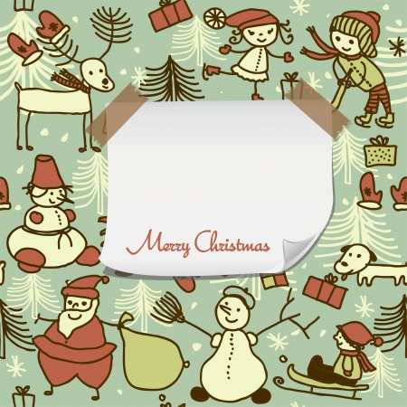 cartoon Christmas pattern with blank paper for your greeting Stock Vector - 16187988