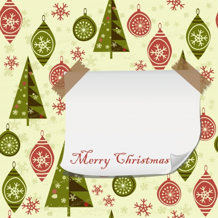 sledge dog: cartoon Christmas pattern with blank paper for your greeting