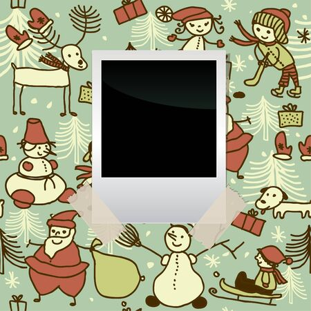 blank film banner on seamless xmas pattern Stock Vector - 16279487
