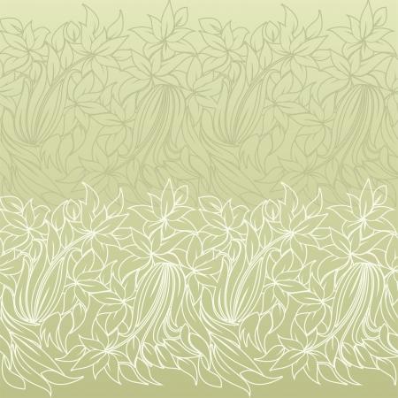 retro postcard: horizontal seamless floral pattern