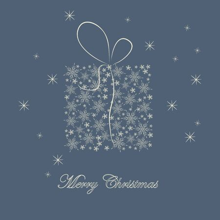 Christmas card with gift on blue background Vector