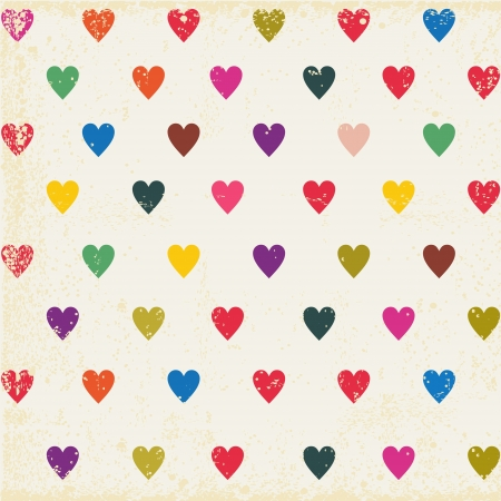 heart in hand: retro seamless pattern with colorful hearts