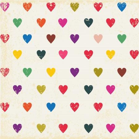corazon: retro sin fisuras con corazones de colores Vectores