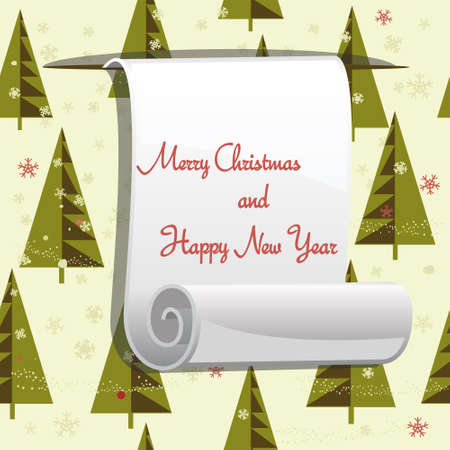 winter fun: Christmas pattern with roll paper for your greeting