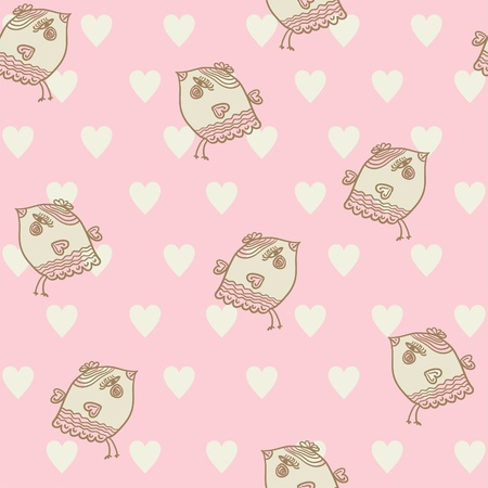 seamless child pattern with birds and hearts on pink background Vector