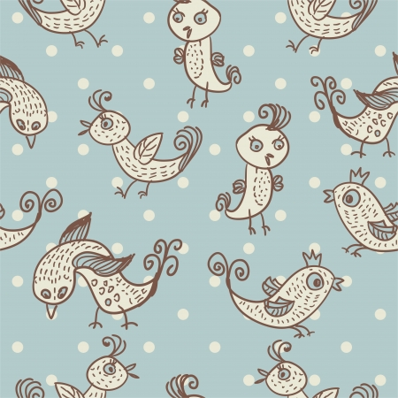 seamless child pattern with birds on blue background Vector