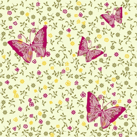 doodle seamless pattern with butterfly  Stock Vector - 17604647