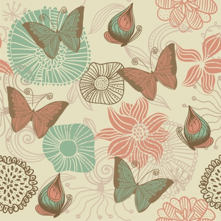butterfly hand: doodle seamless pattern with butterfly  Illustration