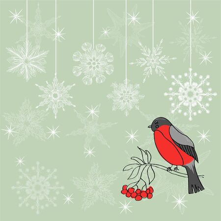winter background with bullfinch  Stock Vector - 17604663