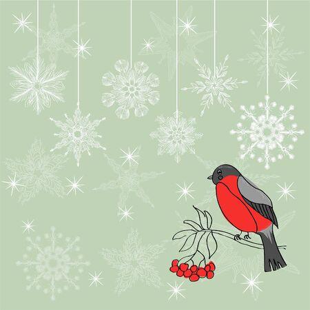 winter background with bullfinch Stock Vector - 17604663