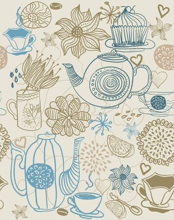 teabag: seamless floral background with cups and teapots  Illustration