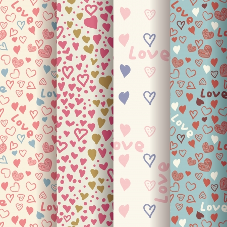 set of retro patterns with colorful hearts  Vector