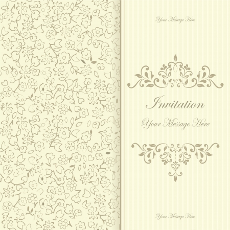 retro floral invitation card  Vector