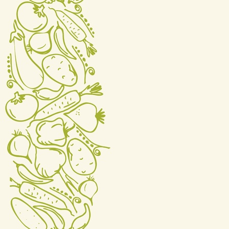 pod: vertical seamless pattern with vegetables