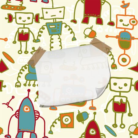 seamless doodle pattern with colorful robots and blank paper for your greeting  eps10  Vector