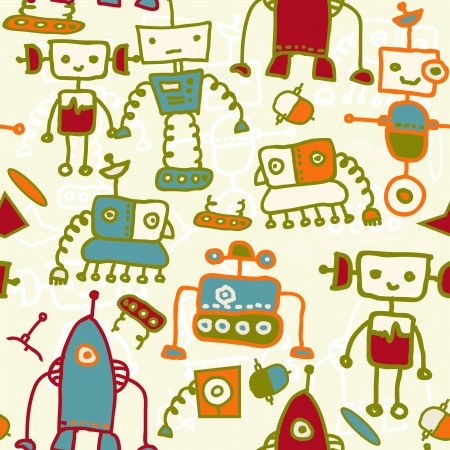 seamless doodle pattern with colorful robots Vector