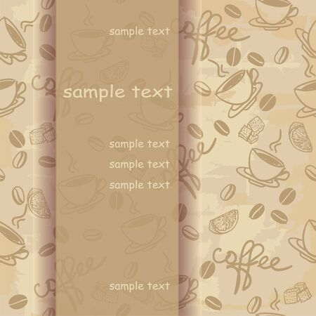 threadbare: Template frame design for greeting card with coffee
