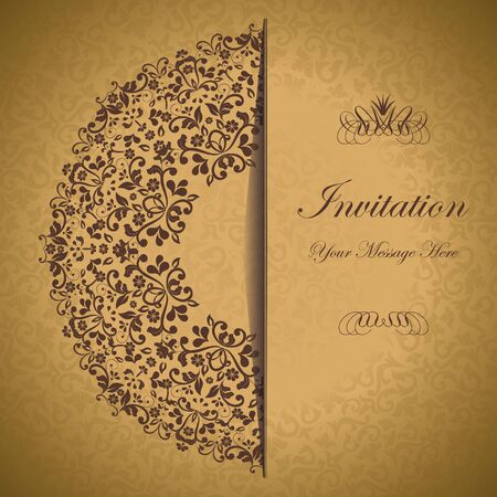 ornamental circle template with floral background  eps10 Vector