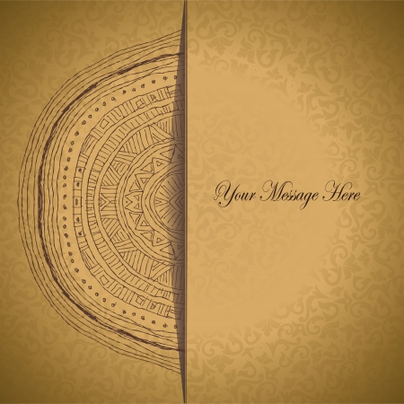 arabesque antique: Vintage half of mandala with place for your text