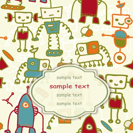 invitation card with colorful robots   Vector