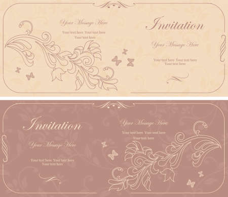 set of beautiful floral invitation cards  Vector