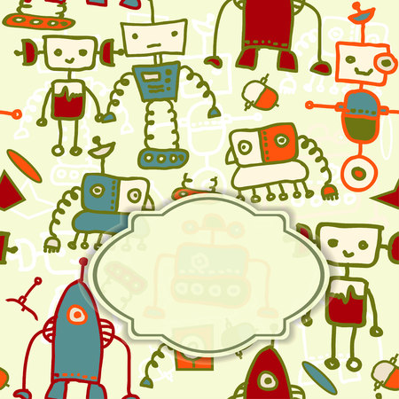 invitation card with colorful robots   eps10 Vector