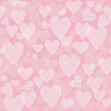 Retro seamless pattern with hearts on pink background Vector