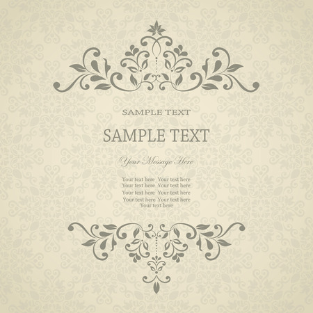 Invitation card with floral pattern on damask background  eps10 Vector