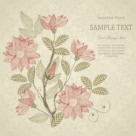 Wedding card or invitation with floral pattern on classic background  eps10 Vector