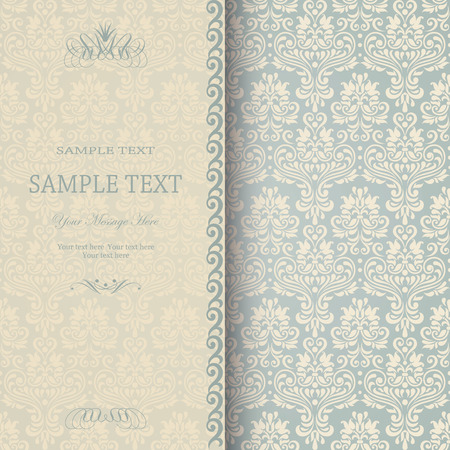 Beautiful damask invitation card  eps10  Vector