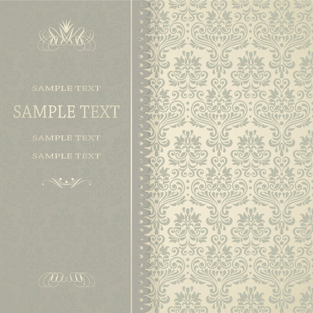 Beautiful damask invitation card Vector